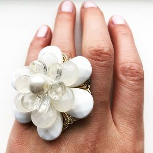 Chunky white & pearl baubles flower statement ring